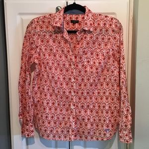 Talbots Orange & Blue Geometric Button Up Top